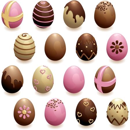 16 glanzende, gedetailleerde chocolade-eieren voor Pasen. Afbeeldingen zijn gegroepeerd en in verschillende lagen voor eenvoudige bewerking. Het bestand kan in elke grootte worden geschaald. Stockfoto - 8668248