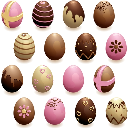 chocolate egg: 16 glossy, detailed chocolate eggs for easter. Graphics are grouped and in several layers for easy editing. The file can be scaled to any size.