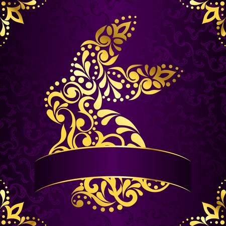 Vendimia fondo con diseño de conejo de Pascua oro intrincada. Gráficos se agrupan y en varias capas para facilitar la edición. El archivo se puede escalar a cualquier tamaño. Foto de archivo - 8770020