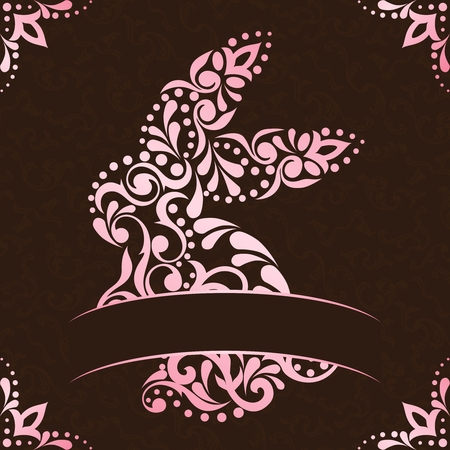 baroque border: Vintage background with intricate pink easter bunny design. Graphics are grouped and in several layers for easy editing. The file can be scaled to any size.