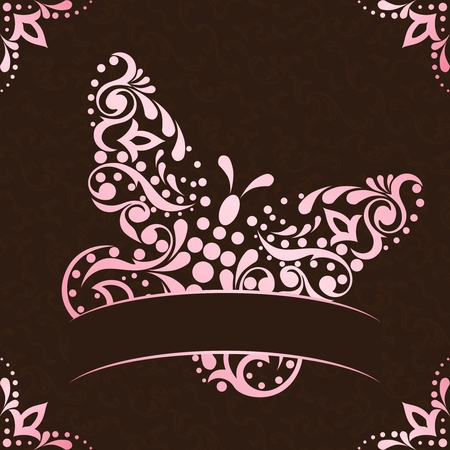 Vintage background with intricate pink butterfly design. Graphics are grouped and in several layers for easy editing. The file can be scaled to any size.