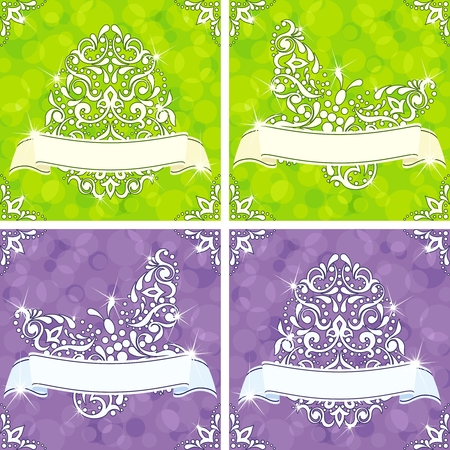 Sparkly springtime backgrounds in green and purple. Graphics are grouped and in several layers for easy editing. The file can be scaled to any size. Vector