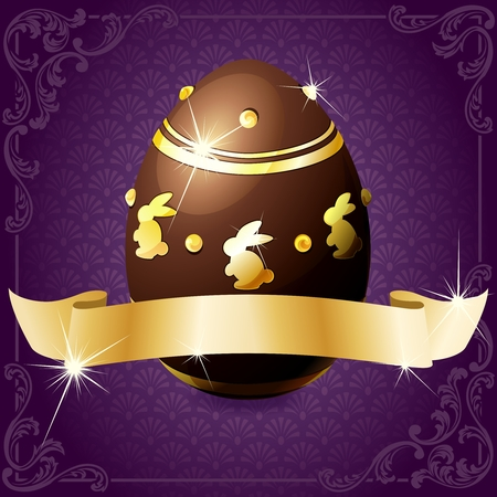 High gloss design in purple with a gold banner wrapped around a decorated chocolate egg. Graphics are grouped and in several layers for easy editing. The file can be scaled to any size. Stock Vector - 8770022