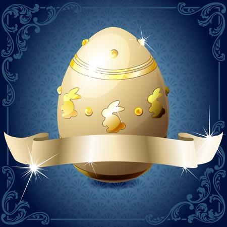 Diseño de alto brillo en azul con una pancarta de oro envuelta alrededor de un huevo de chocolate decorado. Gráficos se agrupan y en varias capas para facilitar la edición. El archivo se puede escalar a cualquier tamaño. Ilustración de vector
