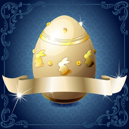 High gloss design in blue with a gold banner wrapped around a decorated chocolate egg. Graphics are grouped and in several layers for easy editing. The file can be scaled to any size. Vector