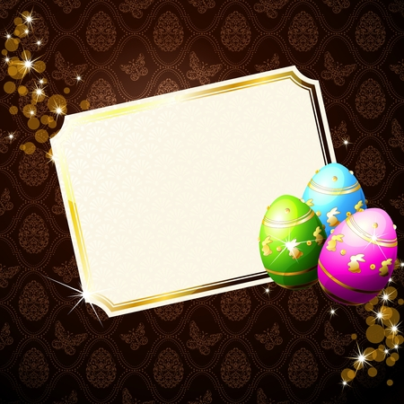 Card with brilliant Easter eggs and sparkles. Graphics are grouped and in several layers for easy editing. The file can be scaled to any size. Vector