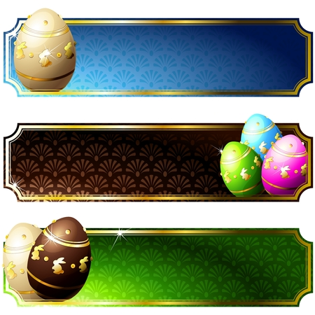 Set of high gloss banners with easter eggs, in brilliant colors. Graphics are grouped and in several layers for easy editing. The file can be scaled to any size. Illustration