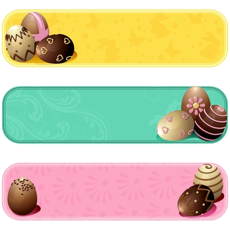 scaled: Set of three cheery banners with chocolate eggs. Graphics are grouped and in several layers for easy editing. The file can be scaled to any size.