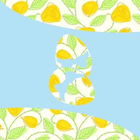 Vector met springtime achtergrond en easter egg silhouet. Graphics zijn gegroepeerd en in meerdere lagen voor eenvoudige bewerking. Het bestand kan worden geschaald naar elke grootte.