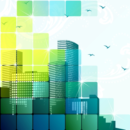 city building: Modern urban illustration with transparencies. Graphics are grouped and in several layers for easy editing. The file can be scaled to any size.