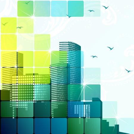 Moderne stedelijke illustratie met transparanten. Afbeeldingen zijn gegroepeerd en in meerdere lagen voor eenvoudige bewerking. Het bestand kan worden geschaald naar elke grootte.