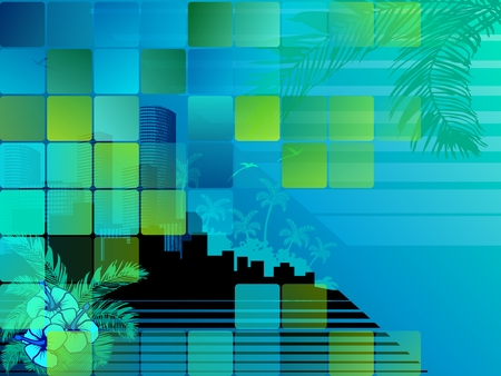 palmtree: Urban summertime illustration with transparencies. Graphics are grouped and in several layers for easy editing. The file can be scaled to any size.
