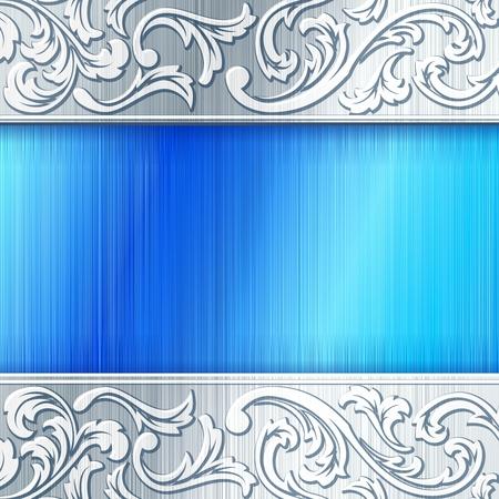 Elegante industriële banner in zilveren en blauw. Graphics zijn gegroepeerd en in meerdere lagen voor eenvoudige bewerking. Het bestand kan worden geschaald naar elke grootte.