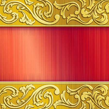 metallic background: Elegant industrial banner in gold and red. Graphics are grouped and in several layers for easy editing. The file can be scaled to any size. Illustration