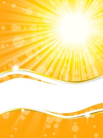 zomer: Eenvoudige, elegante en zonnige zomer banner. Graphics zijn gegroepeerd en in meerdere lagen voor eenvoudige bewerking. Het bestand kan worden geschaald naar elke grootte.