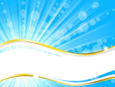 turquesa color: Banner de verano soleado, simple y elegante. Gr�ficos se agrupan y en varias capas para facilitar la edici�n. El archivo se puede escalar a cualquier tama�o. Vectores