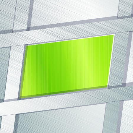 brushed aluminum: Elegante banner industrial en plata y verde. Gr�ficos se agrupan y en varias capas para facilitar la edici�n. El archivo se puede escalar a cualquier tama�o.