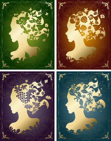 Four seasonal images in vintage colors, with a female silhouette. Graphics are grouped and in several layers for easy editing. The file can be scaled to any size.