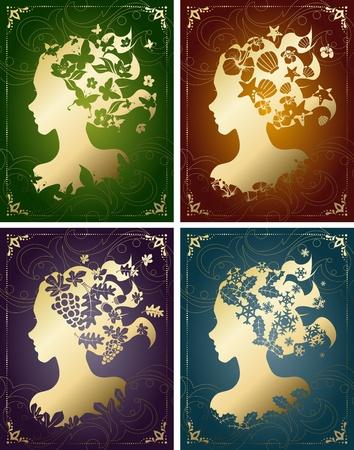 Vier seizoensgebonden beelden in vintage kleuren, met een vrouwelijke silhouet. Afbeeldingen zijn gegroepeerd en in meerdere lagen voor eenvoudige bewerking. Het bestand kan worden geschaald naar elke grootte.