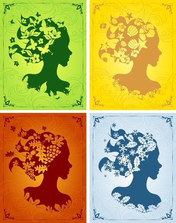 Four seasonal images in vibrant colors, with a female silhouette. Graphics are grouped and in several layers for easy editing. The file can be scaled to any size. Vector
