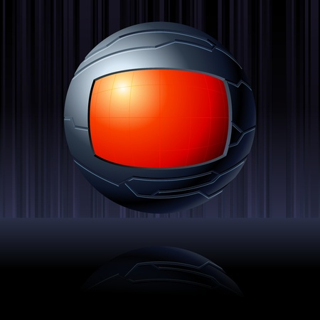 science fiction: Science fiction floating globe in red and black. Graphics are grouped and in several layers for easy editing. The file can be scaled to any size.
