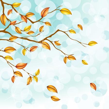 Een sparkly licht blauwe achtergrond met herfst boomtakken. Afbeeldingen zijn gegroepeerd en in meerdere lagen voor eenvoudige bewerking. Het bestand kan worden geschaald naar elke grootte.