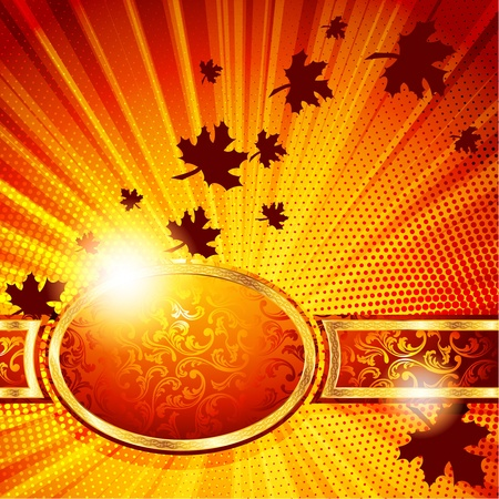 A beautiful, detailed autumn banner with leaves and sunbeams. Graphics are grouped and in several layers for easy editing. The file can be scaled to any size. Illustration
