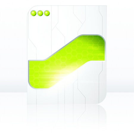science fiction: Science fiction tablet-banner in green and white. Graphics are grouped and in several layers for easy editing. The file can be scaled to any size