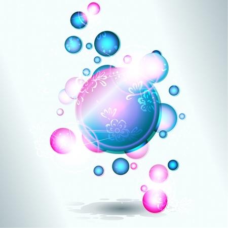 Abstracte banner met glanzende stijgende bubbels, op een lichtgrijze achtergrond. Afbeeldingen zijn gegroepeerd en in meerdere lagen voor eenvoudige bewerking. Het bestand kan worden geschaald naar elke grootte.