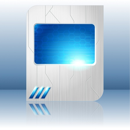 science fiction: Science fiction tablet-banner in blue and silver. Graphics are grouped and in several layers for easy editing. The file can be scaled to any size.