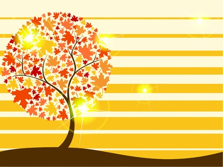 any size: Background with autumnal tree, in warm colors. Graphics are grouped and in several layers for easy editing. The file can be scaled to any size.