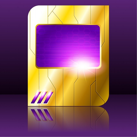 science fiction: Science fiction tablet-banner in gold and purple. Graphics are grouped and in several layers for easy editing. The file can be scaled to any size. Illustration