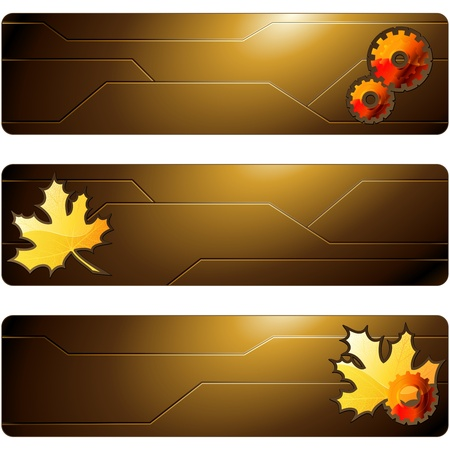 Sciency brown banners with leaves and gears. Graphics are grouped and in several layers for easy editing. The file can be scaled to any size.