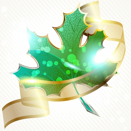 Background a large glossy green leaf icon and a golden ribbon. Graphics are grouped and in several layers for easy editing. The file can be scaled to any size. Vector