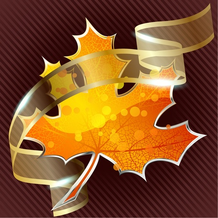 Background a large glossy red leaf icon and a golden ribbon. Graphics are grouped and in several layers for easy editing. The file can be scaled to any size. Vector