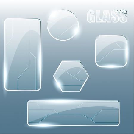 verre: Collecte de verre brillant et des banni�res et boutons en m�tal. Graphiques sont regroup�s en plusieurs couches pour l'�dition facile. Le fichier peut �tre manipul�e � n'importe quelle taille. Illustration