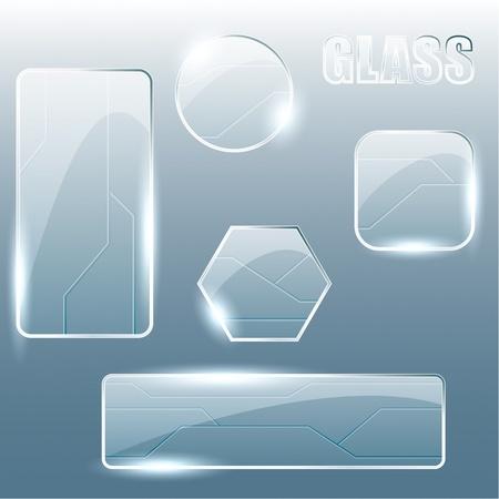 knop: Collectie glanzend glas en metalen banners en knoppen. Afbeeldingen zijn gegroepeerd en in meerdere lagen voor eenvoudige bewerking. Het bestand kan worden geschaald naar elke grootte.