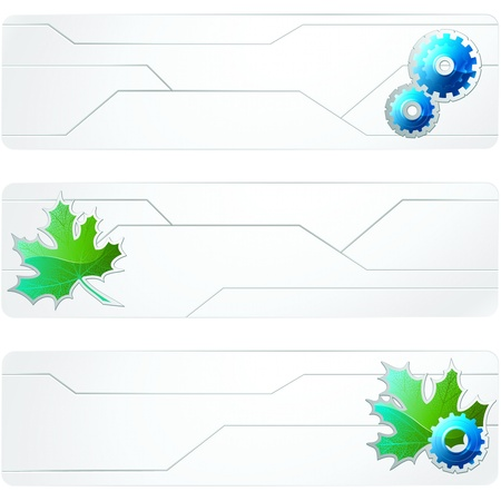Sciency white banners with leaves and gears. Graphics are grouped and in several layers for easy editing. The file can be scaled to any size. Vectores