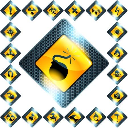hazardous: Insieme di simboli di pericolo di vetro e metallo. Grafica � raggruppati e in diversi strati per facile modifica. Il file pu� essere adattato in qualsiasi dimensione.