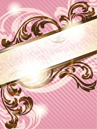 Elegant pink and brown transparent banner design inspired by French rococo style. Graphics are grouped and in several layers for easy editing. The file can be scaled to any size.