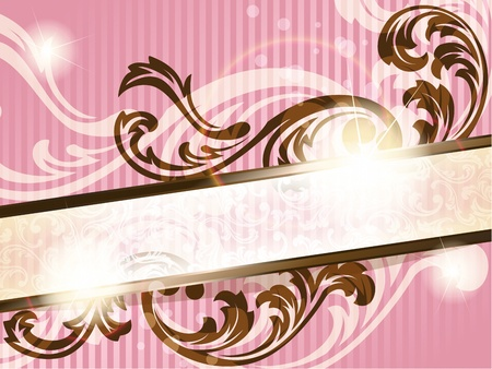 Elegant pink and brown transparent banner design inspired by French rococo style. Graphics are grouped and in several layers for easy editing. The file can be scaled to any size. Vector