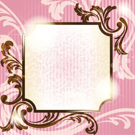 Elegant pink and brown transparent background design inspired by French rococo style. Graphics are grouped and in several layers for easy editing. The file can be scaled to any size. Vettoriali