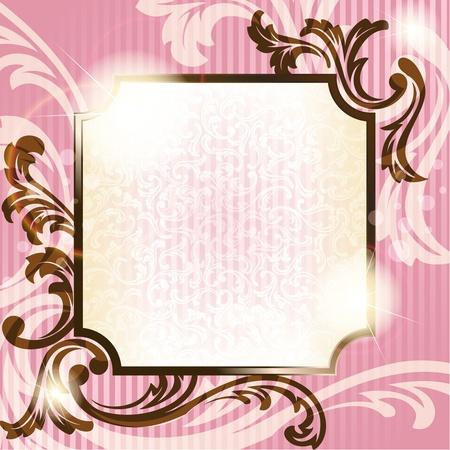 Elegante roze en bruin transparante achtergrond ontwerp geïnspireerd door de Franse rococo stijl. Graphics zijn gegroepeerd en in meerdere lagen voor eenvoudige bewerking. Het bestand kan worden geschaald naar elk formaat.