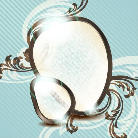 rococo style: Dise�o de elegante caf� y azul transparente emblema inspirado en estilo rococ� franc�s. Gr�ficos se agrupan y en varias capas para facilitar su edici�n. El archivo se puede escalar a cualquier tama�o. Vectores