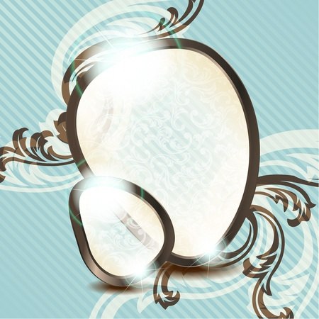Elegant blue and brown transparent emblem design inspired by French rococo style. Graphics are grouped and in several layers for easy editing. The file can be scaled to any size. Stock Vector - 9825418
