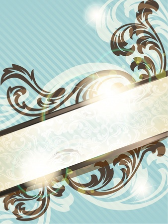 royals: Elegant blue and brown transparent banner design inspired by French rococo style. Graphics are grouped and in several layers for easy editing. The file can be scaled to any size.
