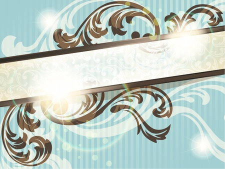 Elegant blue and brown transparent banner design inspired by French rococo style. Graphics are grouped and in several layers for easy editing. The file can be scaled to any size.