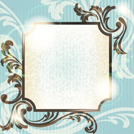 Elegante blauw en bruin transparante achtergrondontwerp geïnspireerd door Franse rococo stijl. Afbeeldingen zijn gegroepeerd en in meerdere lagen voor eenvoudige bewerking. Het bestand kan worden geschaald naar elke grootte.