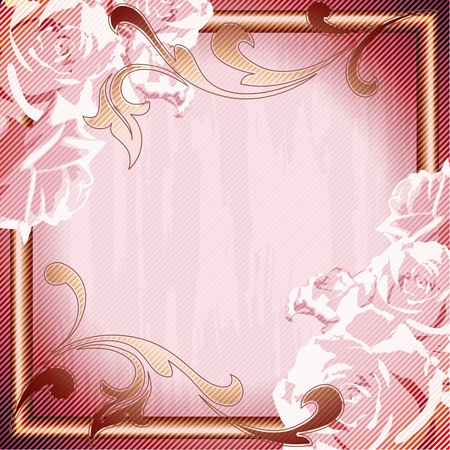 Romantico, sgangherata rosa telaio ispirato dai disegni del rococò francese. Grafica è raggruppati e in diversi strati per facile modifica. Il file può essere adattato in qualsiasi dimensione. Archivio Fotografico - 9825498