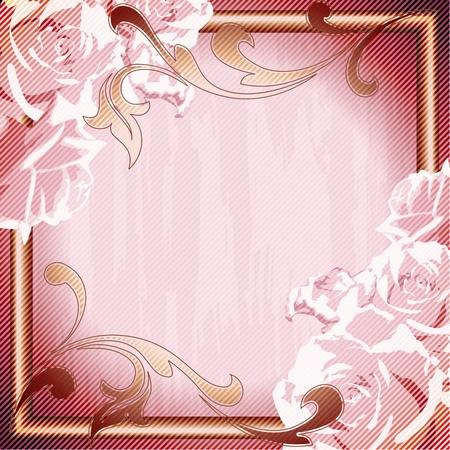 Romantische, grungy roze frame geïnspireerd door Frans Rococo designs. Afbeeldingen zijn gegroepeerd en in meerdere lagen voor eenvoudige bewerking. Het bestand kan worden geschaald naar elke grootte. Stock Illustratie